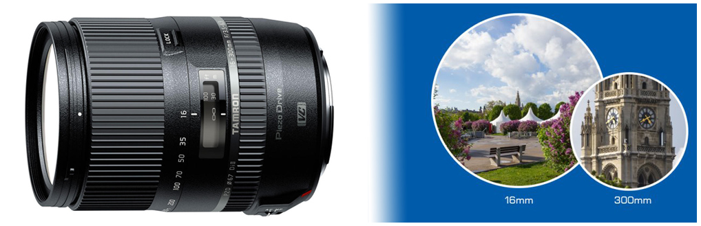 Například objektiv Tamron AF 16-300mm f/3.5-6.3 Di-II VC PZD nabízí extrémní 18,8x rozsah zoomu pro APS-C zrcadlovky různých výrobců