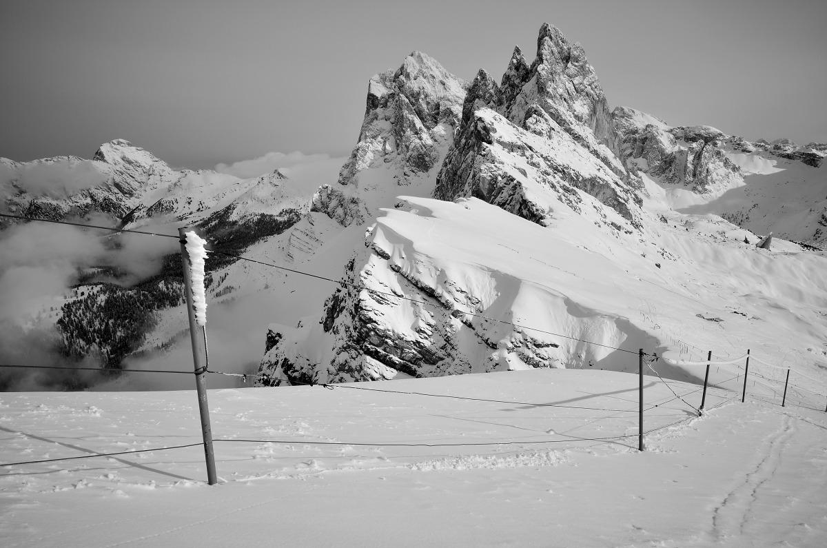 Zimní krajina Dolomity