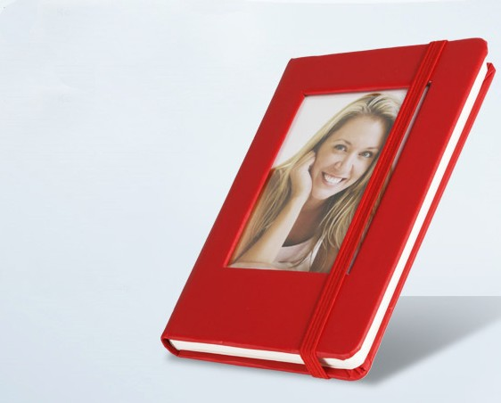 Zápisník s vlastní fotografií.