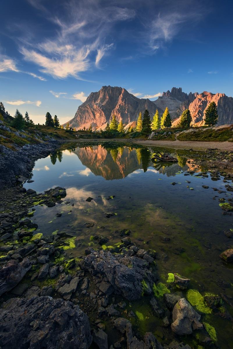 Sedlo Falzarego, Dolomity, Itálie. Nikon D600, Nikon 17-35mm f/2,8 AF-S, clona f/9, čas 1/100, ohnisko 17 mm, přechodový celoskleněný filtr VFFOTO NHDQ 0.9 SOFT 100x150 mm