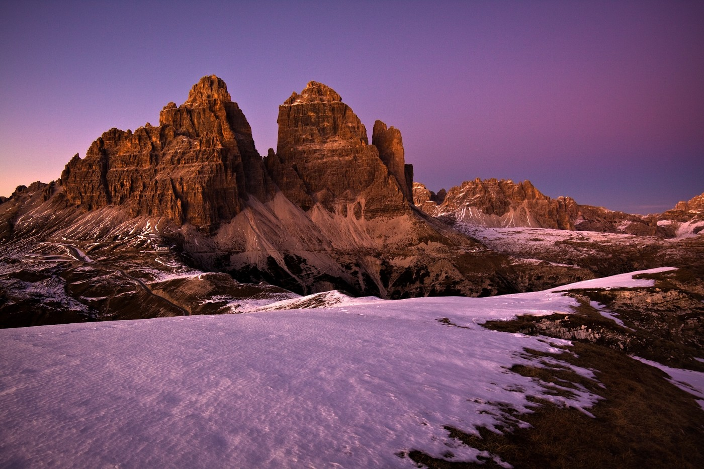Tre Cime, Sextenské Dolomity, Itálie. Canon EOS 50D, Samyang 14mm f/2,8 UMC