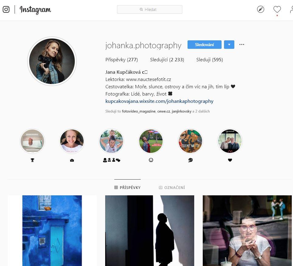 Instagram Jany Kupčákové
