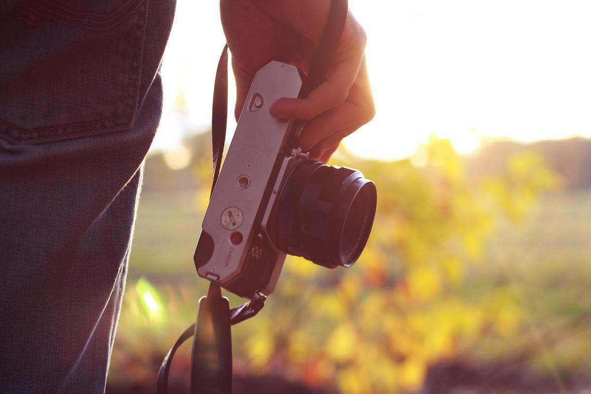 Fotoaparát při západu slunce