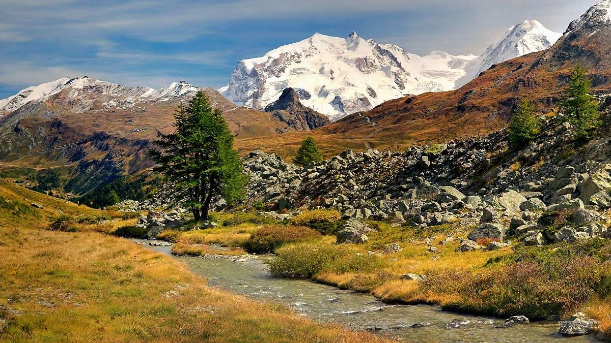 Trek kolem Matterhorn, Walliské Alpy, Masiv Monte Rosa, cestou k chatě Schönbielhütte