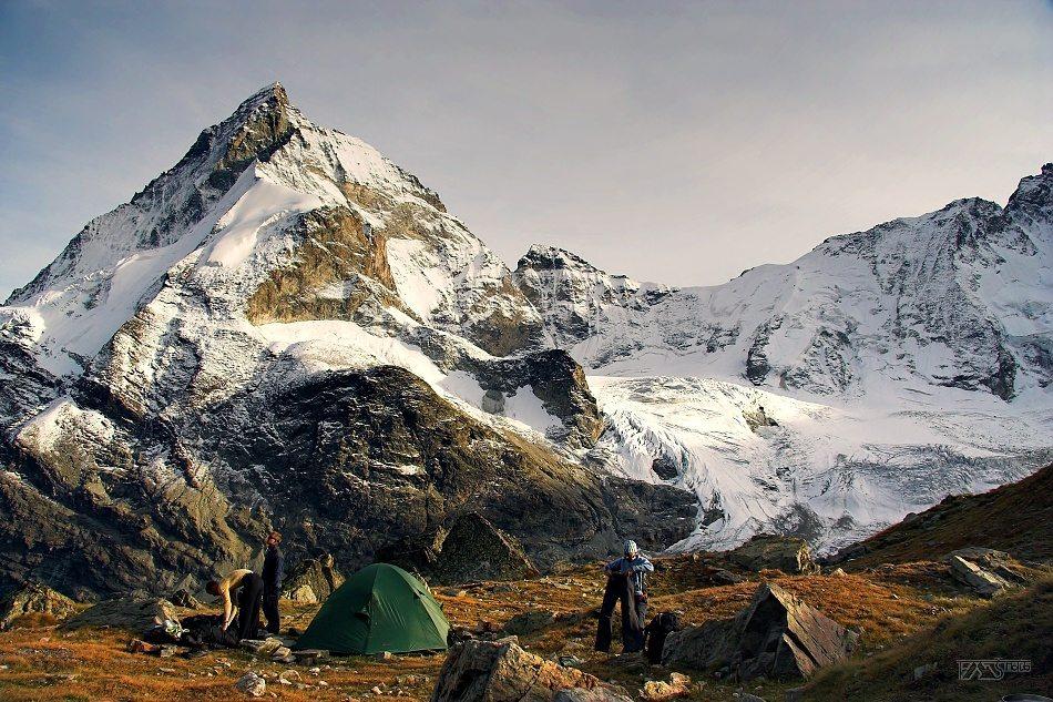 Trek kolem Matterhorn, Walliské Alpy, příprava na noc pod Matterhornem