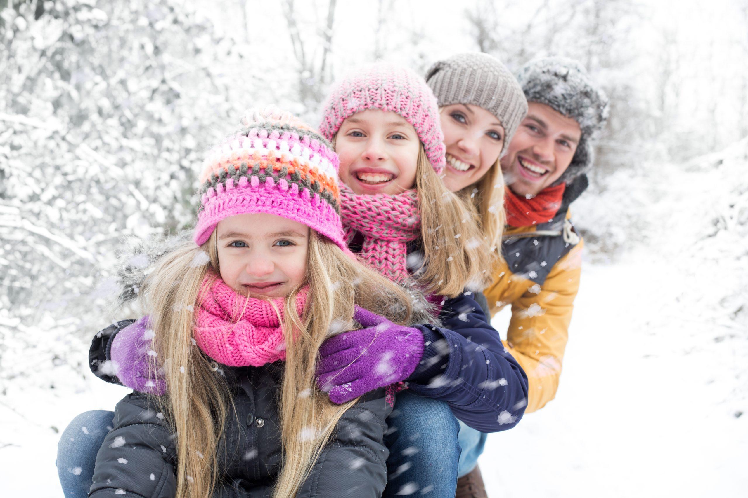 rodina, zima, dovolená na horách