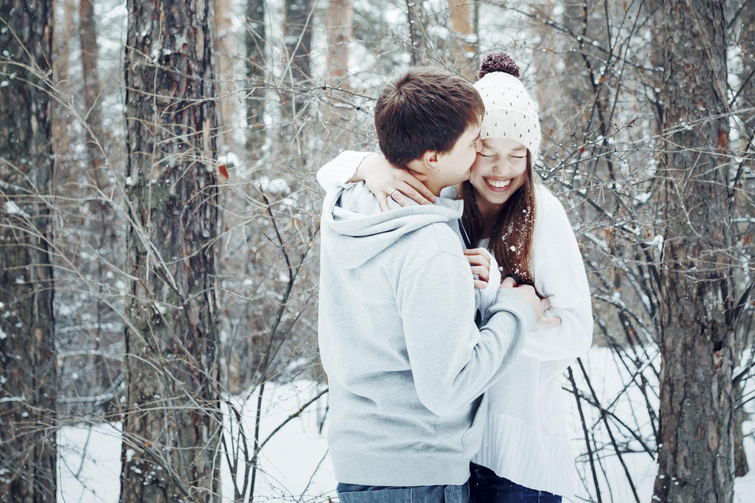 valentýn, zima, pár, láska